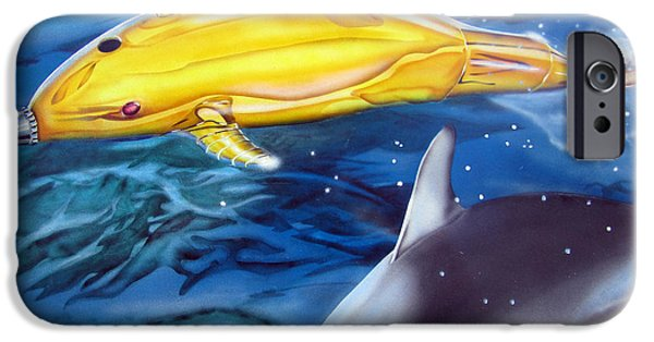 Technical Paintings iPhone Cases - High Tech Dolphins iPhone Case by Thomas J Herring