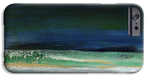 Nature Abstract iPhone Cases - High Tide- Abstract Beachscape Painting iPhone Case by Linda Woods