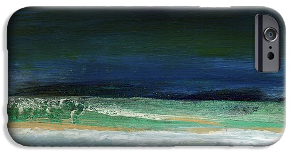 Interior Design Art iPhone Cases - High Tide- Abstract Beachscape Painting iPhone Case by Linda Woods