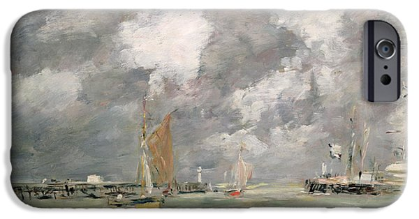 Boat Paintings iPhone Cases - High Tide at Trouville iPhone Case by Eugene Louis Boudin