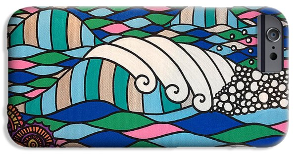 Wave Pattern iPhone Cases - High Tide High Love iPhone Case by Susan Claire