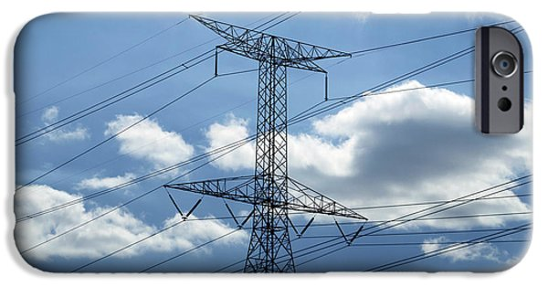 Electrical Equipment iPhone Cases - High Voltage Electrical Gantry Tower 02 iPhone Case by Thomas Woolworth
