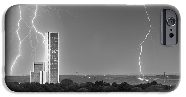 Storm iPhone Cases - High Voltage Towers - Tulsa Oklahoma iPhone Case by Gregory Ballos