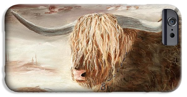 Snow Pastels iPhone Cases - Highland Bull iPhone Case by Anastasiya Malakhova
