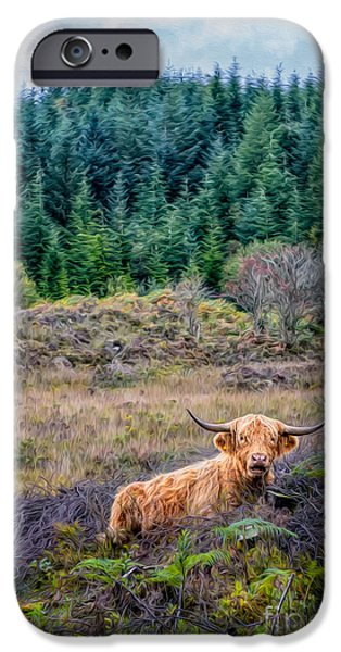 Wavy iPhone Cases - Highland Cow iPhone Case by Adrian Evans
