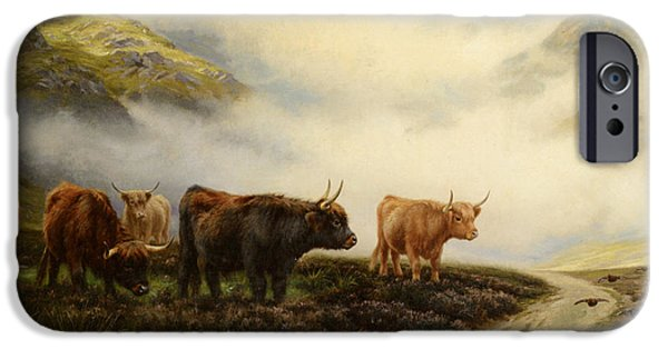 Wright Barker iPhone Cases - Highland Cows In A Pasture iPhone Case by Wright Barker