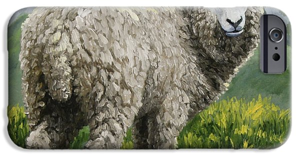 Sheep Paintings iPhone Cases - Highland Ewe iPhone Case by Crista Forest