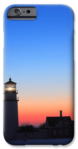 New England Lighthouse iPhone Cases - Highland Lighthouse and Moon Venus Mars Conjunction iPhone Case by John Burk