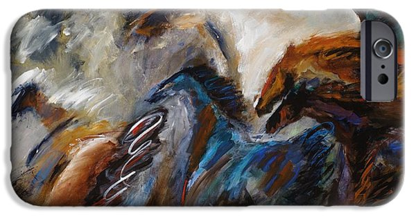 Art Of Horses iPhone Cases - Hightailing It Out of There iPhone Case by Frances Marino