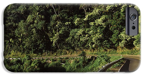 The Way Forward iPhone Cases - Highway Along The Coast, Hana Highway iPhone Case by Panoramic Images