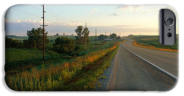 Crops iPhone Cases - Highway Eastern Ia iPhone Case by Panoramic Images