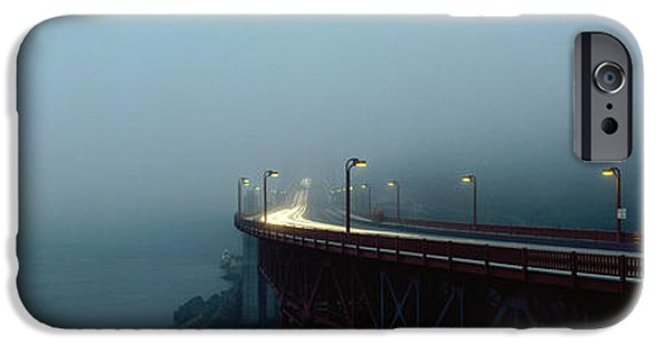 Night Lamp iPhone Cases - Highway In Fog, San Francisco iPhone Case by Panoramic Images