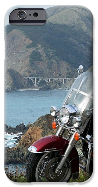 Coast Highway One iPhone Cases - Highway One Harley iPhone Case by Barbara Snyder