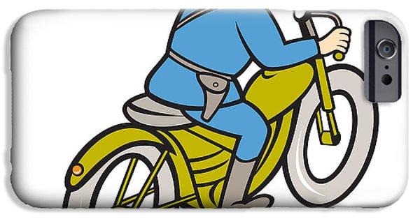 Police Patrol Law Enforcement iPhone Cases - Highway Patrol Policeman Riding Motorbike Cartoon iPhone Case by Aloysius Patrimonio