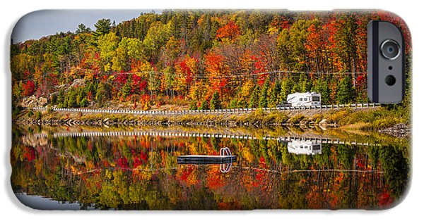 Forest iPhone Cases - Highway through fall forest iPhone Case by Elena Elisseeva