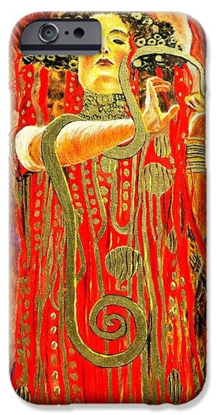 Strange iPhone Cases - Higieja-according to Gustaw Klimt iPhone Case by Henryk Gorecki