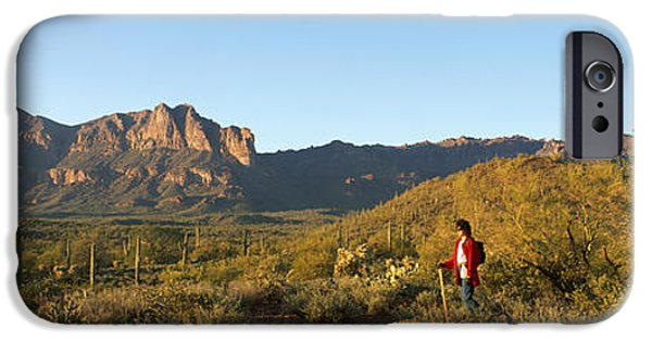 Physical iPhone Cases - Hiker Standing On A Hill, Phoenix iPhone Case by Panoramic Images