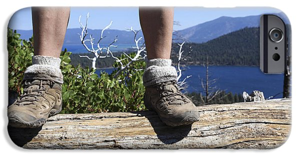 Walking Beat iPhone Cases - Hikers legs and boots  iPhone Case by Gal Eitan