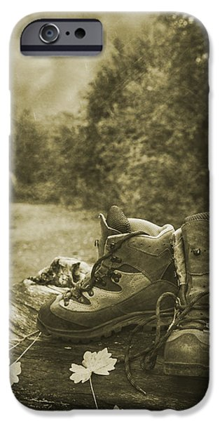 Figures iPhone Cases - Hiking Boots iPhone Case by Amanda And Christopher Elwell