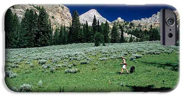 Pioneer Scene iPhone Cases - Hiking The Pioneer Mountains iPhone Case by William H. Mullins