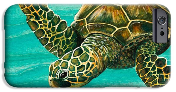 Wood Grain iPhone Cases - Hilahila Shy Sea Turtle iPhone Case by Emily Brantley