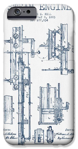 Steam Engine iPhone Cases - Hill Steam Engine Patent Drawing From 1883- Blue Ink iPhone Case by Aged Pixel