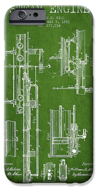 Steam Engine iPhone Cases - Hill Steam Engine Patent Drawing From 1883- Green iPhone Case by Aged Pixel