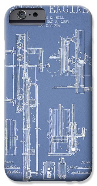 Steam iPhone Cases - Hill Steam Engine Patent Drawing From 1883- Light Blue iPhone Case by Aged Pixel