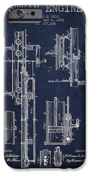 Steam Engine iPhone Cases - Hill Steam Engine Patent Drawing From 1883- Navy Blue iPhone Case by Aged Pixel