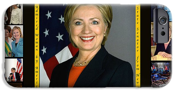 President And First Lady iPhone Cases - Hillary Rodham Clinton        iPhone Case by James William Allen