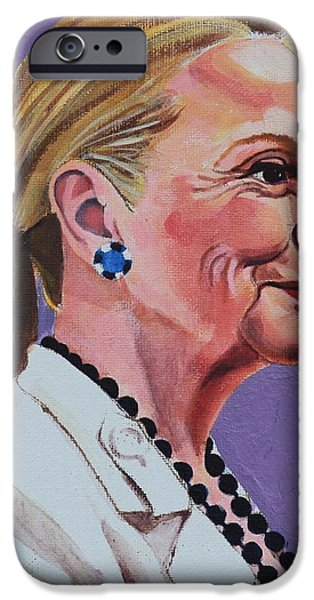 First Lady iPhone Cases - Hillary Rodham Clinton Portrait with Ponytail iPhone Case by Elizabeth Barretta