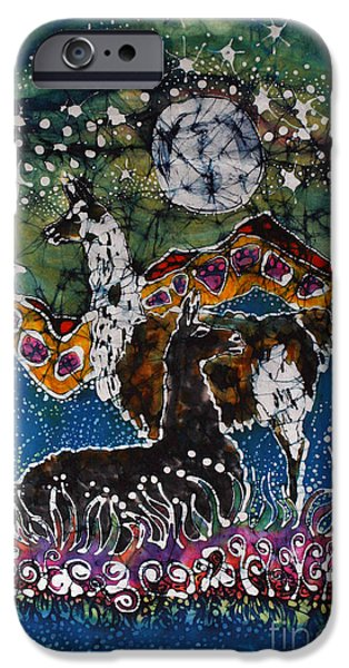 Hills Tapestries - Textiles iPhone Cases - Hills Alive With Llamas iPhone Case by Carol Law Conklin