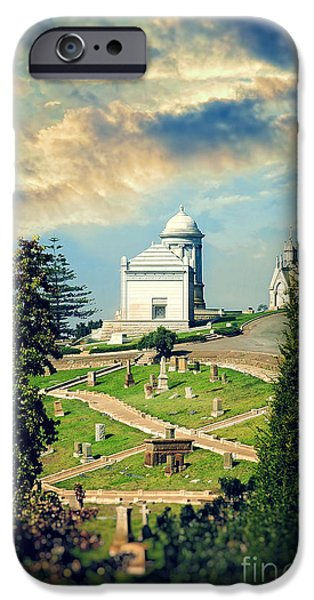 Cemetery iPhone Cases - Hilltop Cemetery iPhone Case by HD Connelly
