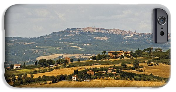 Field. Cloud iPhone Cases - Hilltop Town, Italy iPhone Case by Tim Holt