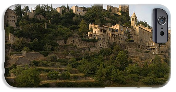 Rhone Alpes iPhone Cases - Hilltop Town Of Montbrun-les-bains iPhone Case by Panoramic Images