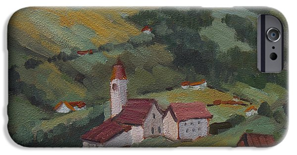 Swiss Paintings iPhone Cases - Hilltop Village Switzerland iPhone Case by Diane McClary