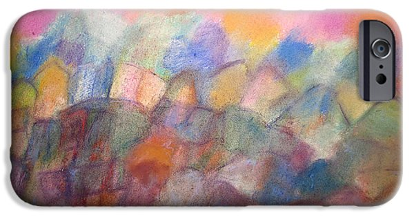 Village Pastels iPhone Cases - Hilltop Village iPhone Case by Tolere