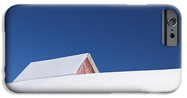 Wintertime iPhone Cases - Hilltop Winter Barn iPhone Case by Alan L Graham