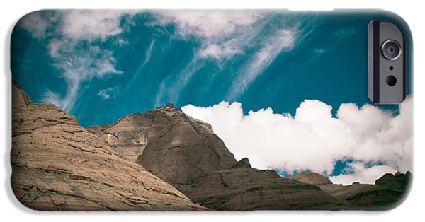 Framed Pyrography iPhone Cases - Himalyas mountains in Tibet with clouds iPhone Case by Raimond Klavins