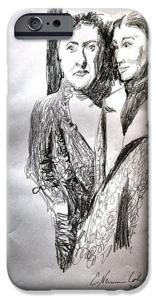 Sepia Ink Drawings iPhone Cases - Hinda and Gittel Before the War iPhone Case by Esther Newman-Cohen