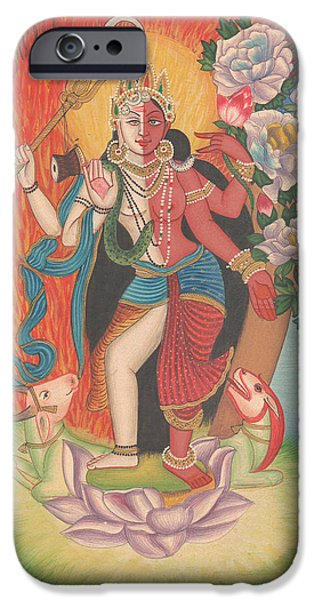 Recently Sold -  - Hindu Goddess iPhone Cases - Hindu God Shiva Shakti Shankar Goddess Parvati Art Gallery India Traditional Painting Artwork  iPhone Case by A K Mundhra