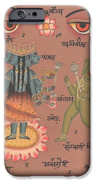 Hindu Goddess Paintings iPhone Cases - Hindu Goddess Durga Demon Madhu eyes of India Mysterious Artwork Painting United Kingdom  iPhone Case by A K Mundhra