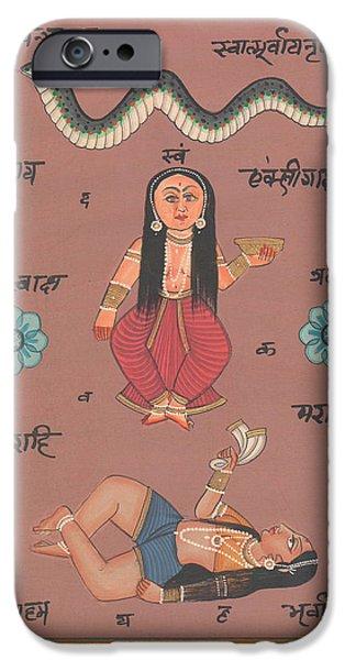 Tantrik Art iPhone Cases - Hindu Goddess Durga Handmade Miniature Painting Artwork India Fine Arwork Artist Asia Traditional  iPhone Case by A K Mundhra