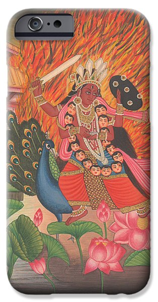 Hindu Goddess Paintings iPhone Cases - Hindu Goddess Kali Kalika Miniature Painting India Lotus Artwork Folk Art Yoga Yogi Meditation iPhone Case by A K Mundhra