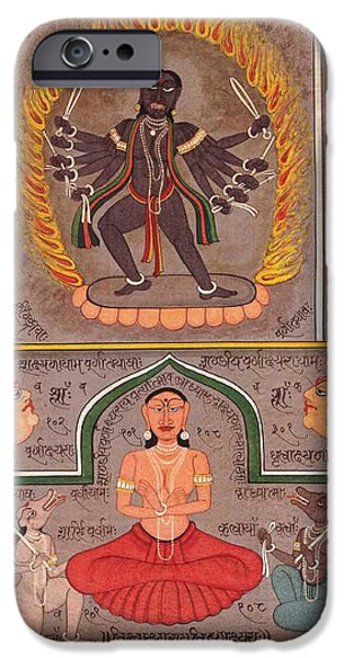 Tantrik Art iPhone Cases - Hindu Goddess Kali Kalika Miniature Painting Sanskrit Calligraphy India  iPhone Case by A K Mundhra