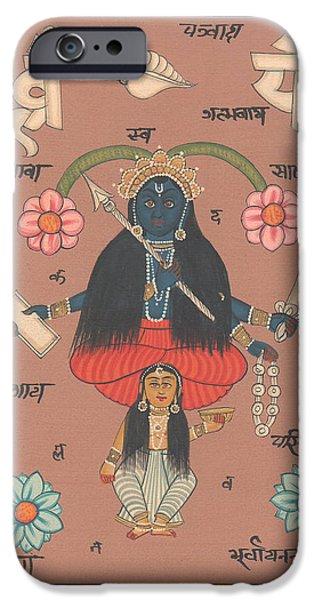Hindu Goddess Paintings iPhone Cases - Hindu Goddess Kali Kalika Mysterious Artwork Painting Yoga  iPhone Case by A K Mundhra