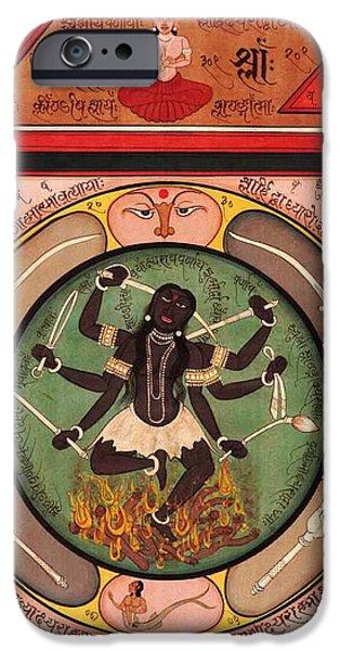 Hindu Goddess iPhone Cases - Hindu Goddess Kali Kalika Vedic Sanskrit Calligraphy Tantra iPhone Case by A K Mundhra