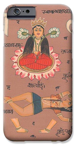 Tantrik Art iPhone Cases - Hindu Goddess of Power Tantra Yantra Tantric Art India iPhone Case by A K Mundhra