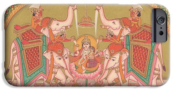 Hindu Goddess Paintings iPhone Cases - Hindu Goddess of Wealth Money Devi Laxmi Elephant  Miniature Painting India folk art Traditional  iPhone Case by A K Mundhra