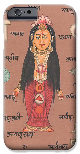 Hindu Goddess Paintings iPhone Cases - Hindu Goddess of Welth LAXMI Artwork Painting Watercolor Germany  iPhone Case by A K Mundhra